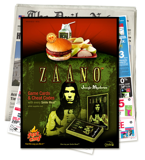 "Image of a newspaper insert featuring an offer of game cards and cheat codes for the Zaano ""Jungle Mysteries"" video game with a Fast Chef Smile Meal - while supplies last."