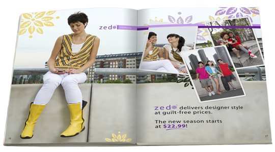 Image of pages from a Zed Clothing catalog showing teens dressed in trendy outfits, hanging out in the city.