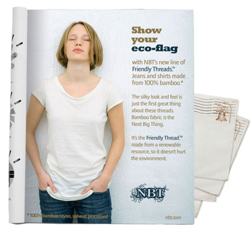 "Image of a girl in a white T-shirt and jeans, alongside text that reads: 'Made from 100% bamboo*,' 'Made from a renewable resource' and 'Doesn't hurt the environment.' At the bottom of the ad, in smaller print, there is text that reads, ""*100% bamboo rayon, solvent processed."""
