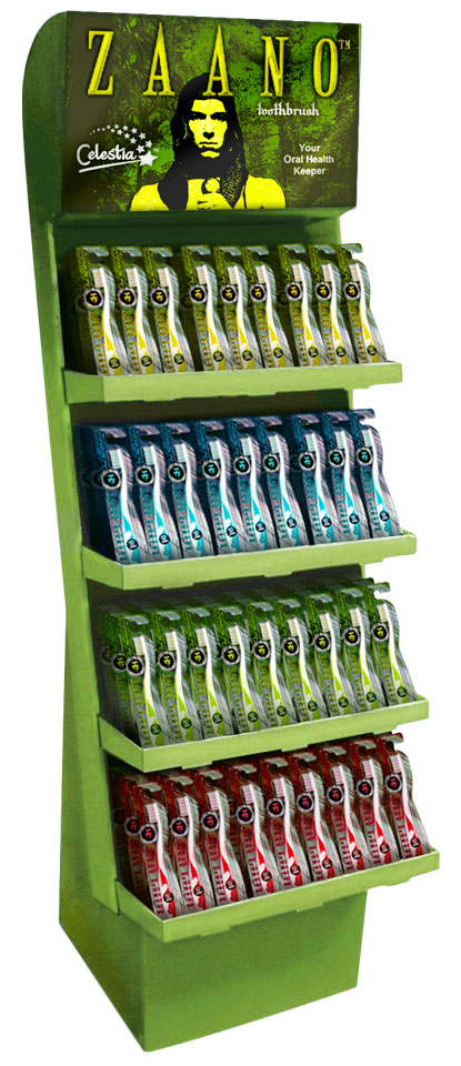 Image of a pop-up store display stocked with Zaano's Quest-branded toothbrushes in bright colors.