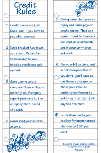 Credit Rules bookmark