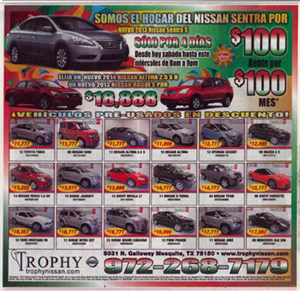 Newspaper ad selling cars
