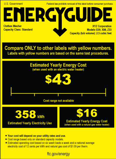 shopping for home appliances use the energyguide label