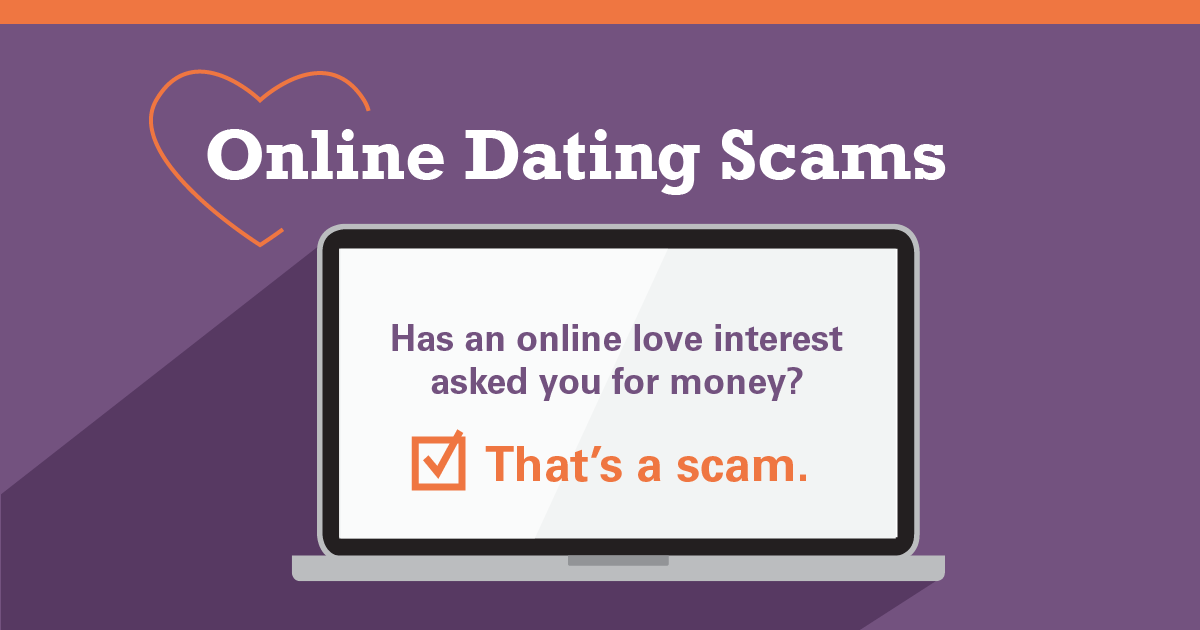 "Online dating scams graphic with laptop screen that reads, ""Has an online love interest asked you for money? That's a scam."""