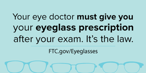 image saying you have a right to your eyeglass prescription for free.