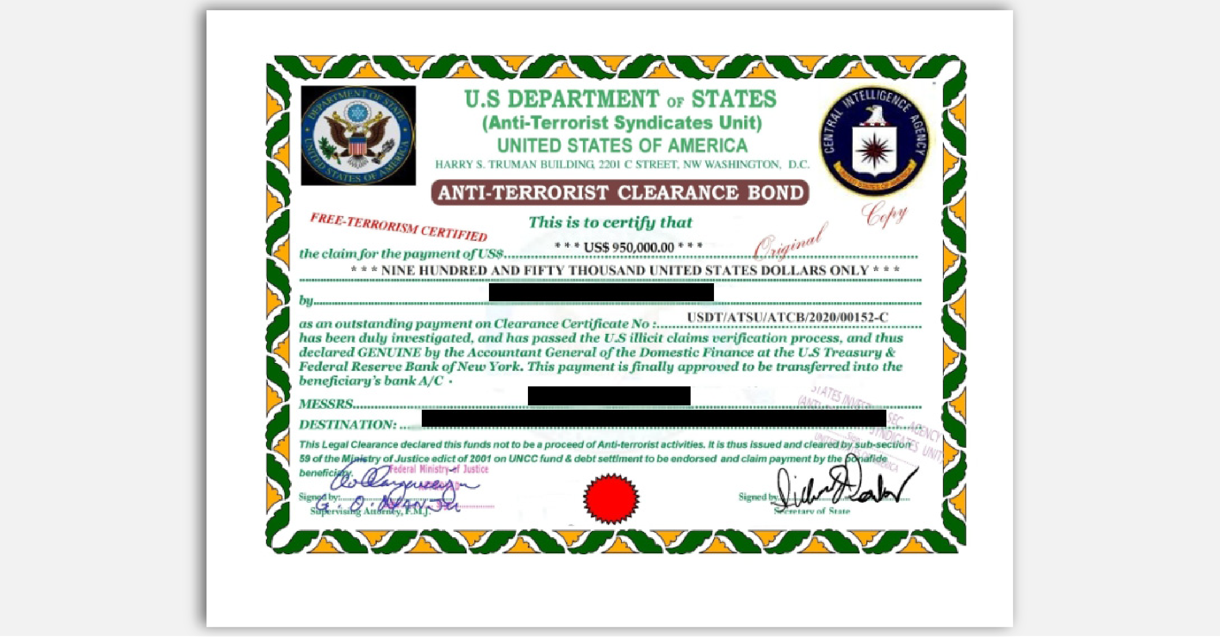 FTC impersonator scam fake State Dept. certificate