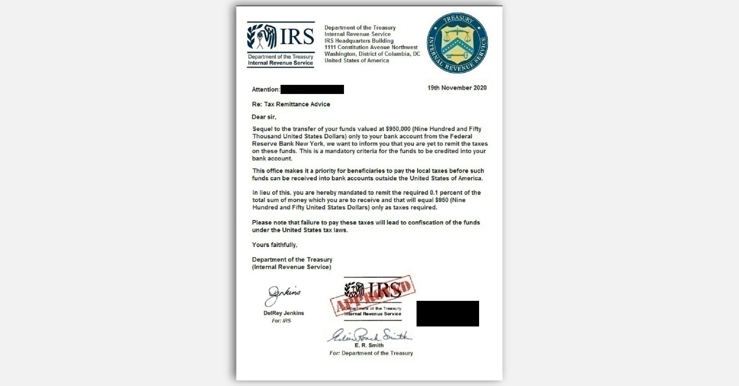 FTC impersonator scam fake IRS letter