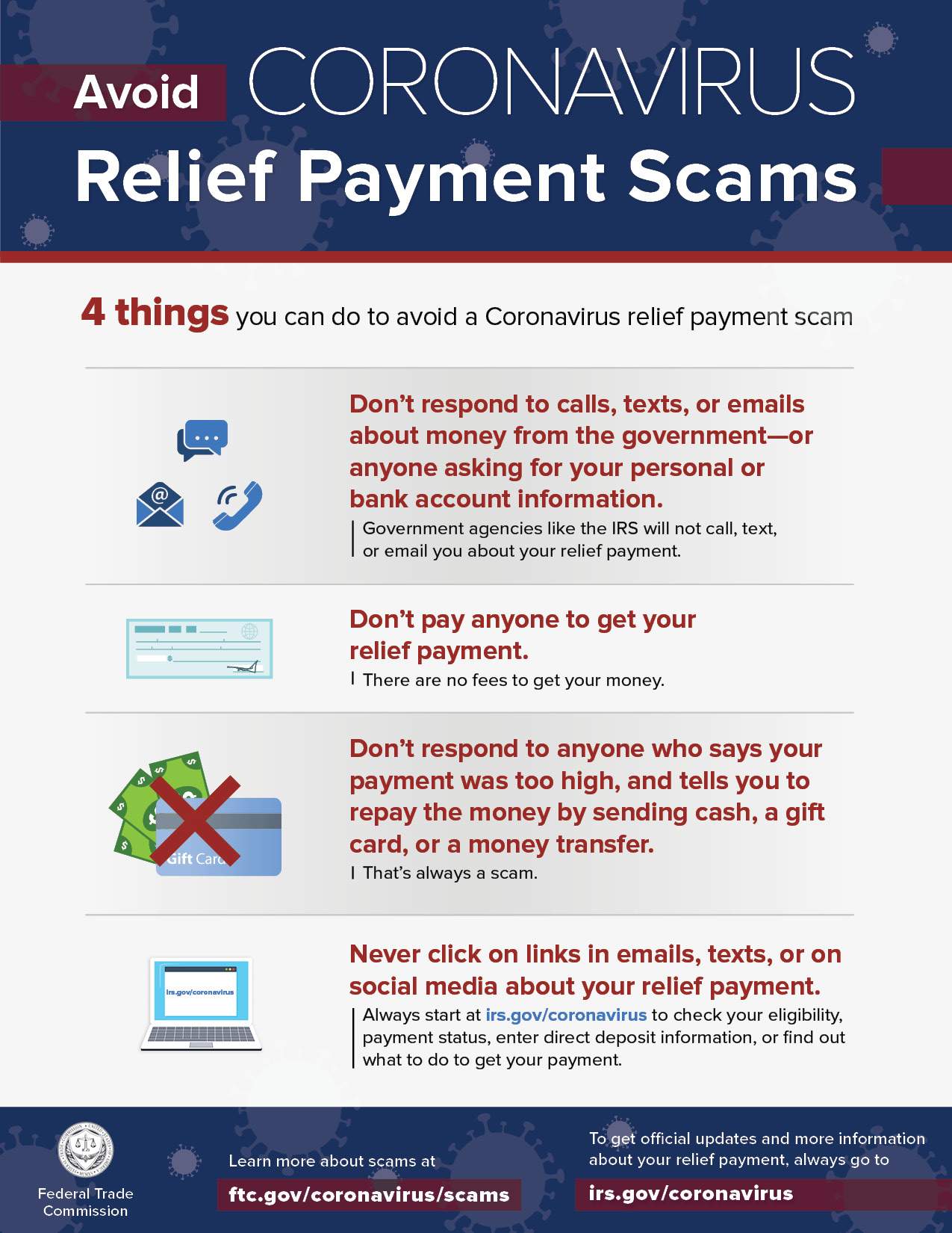 Avoid Coronavirus Relief Payment Scams