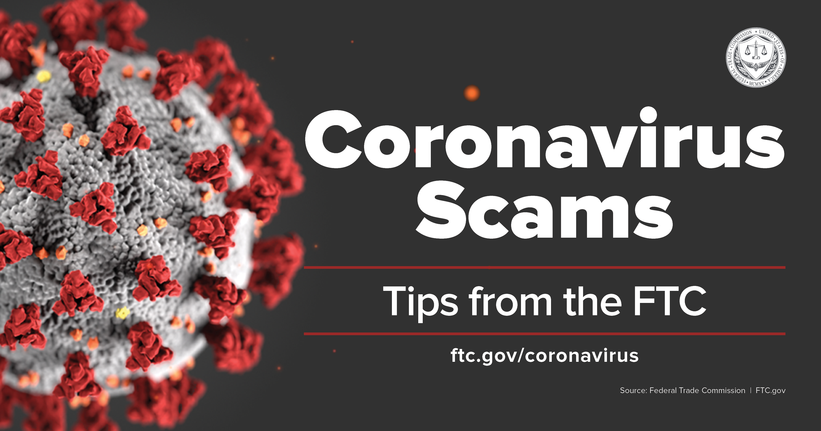 Coronavirus scams social media graphic