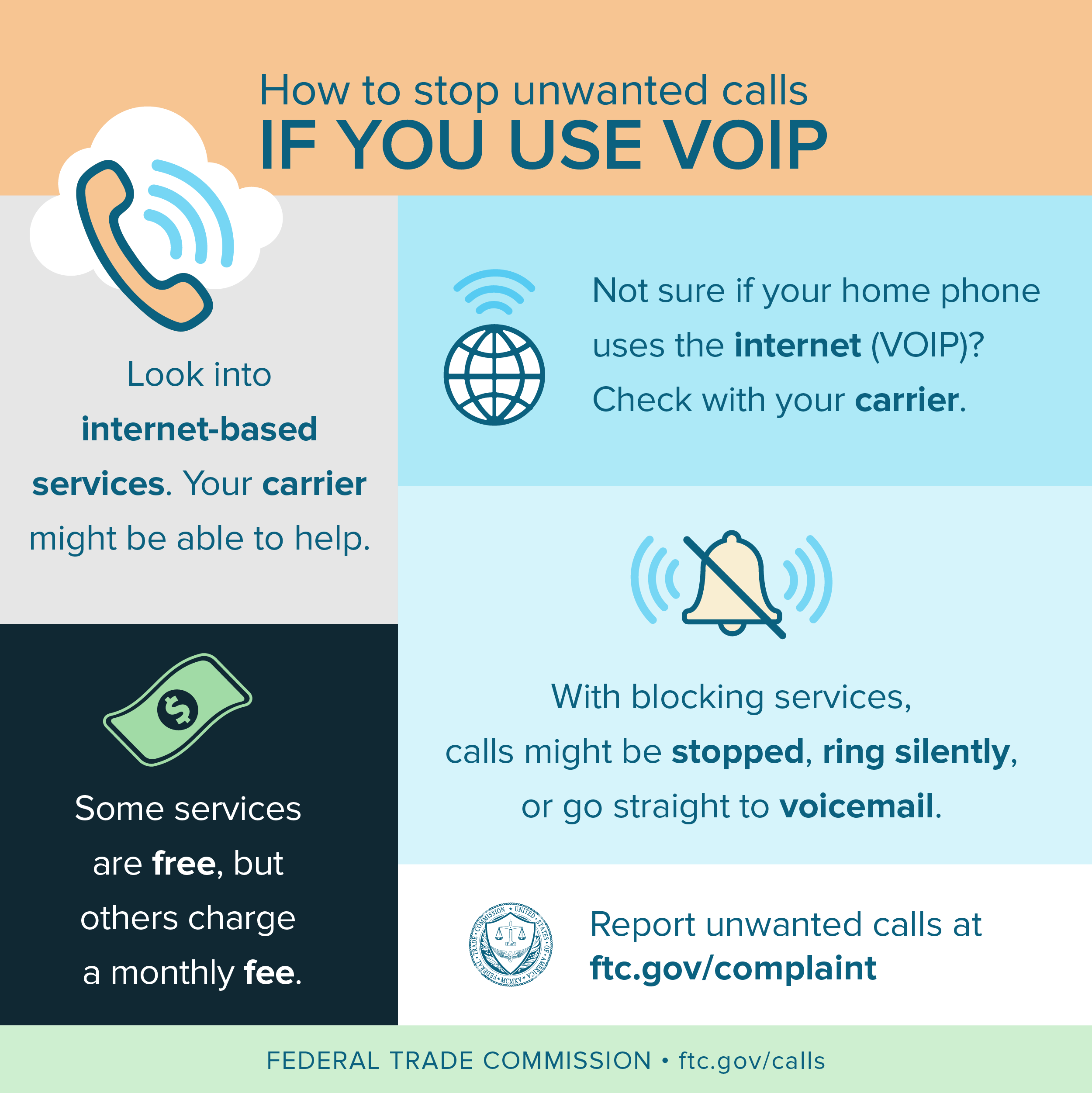 How to stop unwanted calls IF YOU USE VOIP . Look into internet-based services. Your carrier might be able to help. Some services are free, but others charge a monthly fee. Not sure if your home phone uses the internet (VOIP)? Check with your carrier. FEDERAL TRADE COMMISSION  ftc.gov/calls Report unwanted calls at ftc.gov/complaint With blocking services, calls might be stopped, ring silently, or go straight to voicemail.