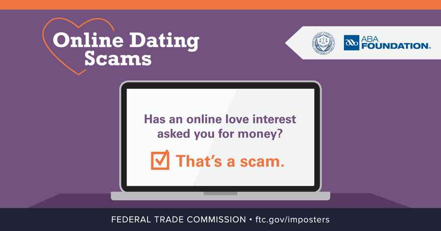 online dating scams FTC ABA graphic