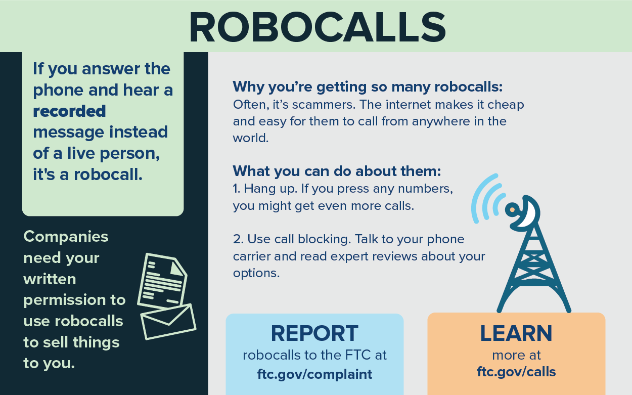 infographic explaining that many of the robocalls you are getting are from scammers, and to get fewer robocalls you should hang up and use call blocking.