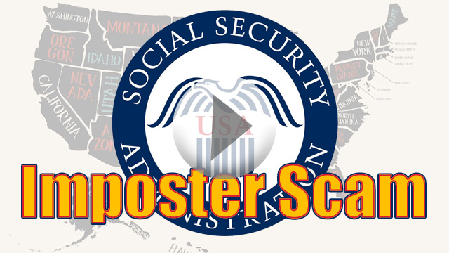 Social Security Administration Seal with Imposter Scam text