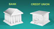 A bank and a credit union