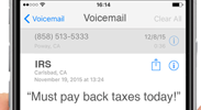 "Voicemail from the IRS: ""Must pay back taxes today!"""